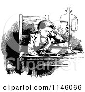 Clipart Of A Retro Vintage Black And White Boy Reading At A Table Royalty Free Vector Illustration