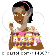 Clipart Of A Happy Black Caregiver Woman In Scrubs Holding A Pill Bottle Royalty Free CGI Illustration