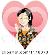 Happy Black Haired Caregiver Woman In Scrubs Holding A Pill Bottle In A Heart