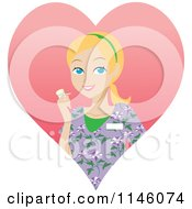 Happy Blond Caregiver Woman In Scrubs Holding A Pill Bottle In A Heart