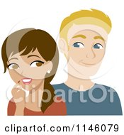 Clipart Of A Thoughtful Hispanic Woman And Interested Blond Man Royalty Free CGI Illustration