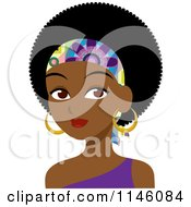 Clipart Of A Beautiful Black Woman With An Afro And Headband Royalty Free CGI Illustration