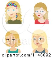Clipart Of Four Beautiful Blond Women Royalty Free CGI Illustration