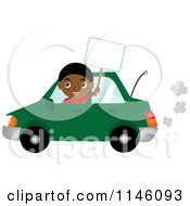 Happy Black Boy Driving A Green Car And Holding A Sign
