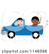 Clipart Of A Boy Driving A Blue Pickup Truck And Another Boy Holding A Sign Royalty Free CGI Illustration