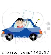 Clipart Of A Happy Boy Driving A Blue Car And Holding A Sign Royalty Free CGI Illustration