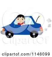 Happy Boy Driving A Blue Car