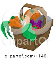 Pumpkin Squash Eggplant Tomatoe Lettuce Onion And Carrots In A Basket Clipart Illustration