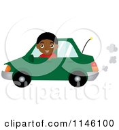 Clipart Of A Happy Black Boy Driving A Green Car Royalty Free CGI Illustration
