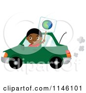 Happy Black Boy Driving A Green Car And Holding An Earth Sign
