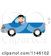 Boy Driving A Blue Pickup Truck