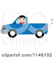 Boy Driving A Blue Pickup Truck