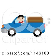 Boy Driving A Blue Pickup Truck With Lumber In The Bed