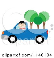 Boy Driving A Blue Pickup Truck With Trees In The Bed