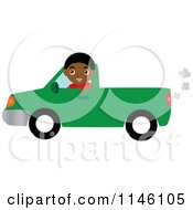Clipart Of A Boy Driving A Green Pickup Truck Royalty Free CGI Illustration
