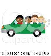 Black Boy Driving A Pickup Truck With Children In The Bed