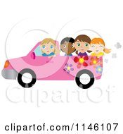 Clipart Of A Girl Driving A Pink Floral Pickup Truck With Friends In The Bed Royalty Free CGI Illustration