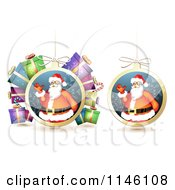Clipart Of Christmas Baubles Of Santa Waving With Gifts Royalty Free Vector Illustration by merlinul