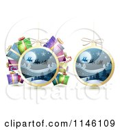 Clipart Of Christmas Baubles Of Santas Sleigh Flying With Gifts Royalty Free Vector Illustration