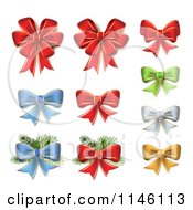 Clipart Of Red Green Blue Silver And Gold Christmas Bows And Branches Royalty Free Vector Illustration