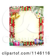Clipart Of A Christmas Frame With Gifts And Bells 3 Royalty Free Vector Illustration