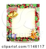 Clipart Of A Christmas Frame With Gifts A Tree And Bells Royalty Free Vector Illustration