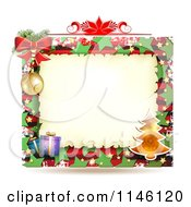 Clipart Of A Christmas Frame With Gifts Poinsettia A Tree And Bells Royalty Free Vector Illustration