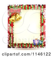 Clipart Of A Christmas Frame With Gifts And Bells 2 Royalty Free Vector Illustration
