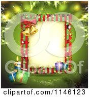 Clipart Of A Green Christmas Frame With Gifts Bells And A Candle Royalty Free Vector Illustration