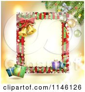 Clipart Of A Christmas Frame With Gifts And Bells Royalty Free Vector Illustration