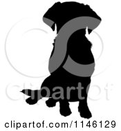 Clipart Of A Silhouetted Lab Sitting Royalty Free Vector Illustration