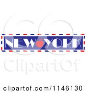Clipart Of A Retro Love New York Apple Banner Royalty Free Vector Illustration