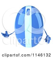 Clipart Of A 3d Blue Computer Mouse Mascot Presenting Royalty Free CGI Illustration