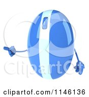 Clipart Of A 3d Blue Computer Mouse Mascot Pointing To The Left Royalty Free CGI Illustration