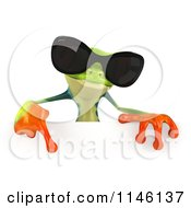 Clipart Of A 3d Argie Frog Wearing Sunglasses And Holding A Sign 1 Royalty Free CGI Illustration