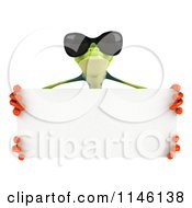 Clipart Of A 3d Argie Frog Wearing Sunglasses And Holding A Sign 2 Royalty Free CGI Illustration