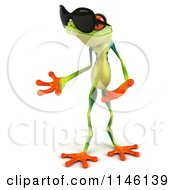3d Argie Frog Wearing Sunglasses And Presenting To The Left