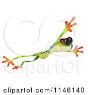 Clipart Of A 3d Argie Frog Wearing Sunglasses And Leaping Royalty Free CGI Illustration by Julos