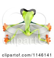 Clipart Of A Rear View Of A 3d Argie Frog Wearing Sunglasses And Hanging On A Sign Royalty Free CGI Illustration