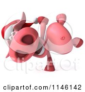 Clipart Of A 3d Christmas Pig Doing A Cartwheel Royalty Free CGI Illustration