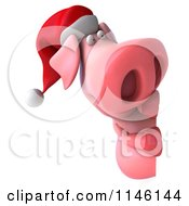 Clipart Of A 3d Christmas Pig With A Sign 1 Royalty Free CGI Illustration