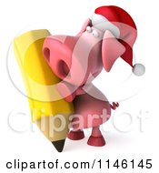 Clipart Of A 3d Christmas Pig Writing With A Giant Pencil Royalty Free CGI Illustration