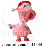Clipart Of A 3d Christmas Pig Gesturing To The Left Royalty Free CGI Illustration