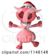 Clipart Of A 3d Christmas Pig Jumping Royalty Free CGI Illustration