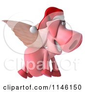 Clipart Of A 3d Christmas Winged Pig Flying To The Right Royalty Free CGI Illustration
