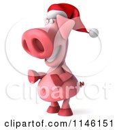 Clipart Of A 3d Christmas Pig Facing Left Royalty Free CGI Illustration
