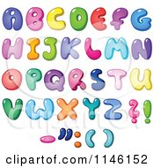 Cartoon Of Colorful Capital Bubble Letters And Punctuation Royalty Free Vector Clipart