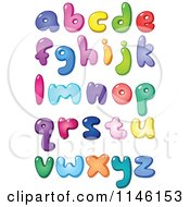 Cartoon Of Colorful Lowercase Bubble Letters And Punctuation Royalty Free Vector Clipart