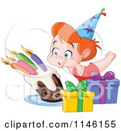 Cartoon Of A Happy Birthday Party Boy Blowing Out His Cake Candles Royalty Free Vector Clipart