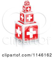 Clipart Of 3d First Aid Cross Cubes Royalty Free CGI Illustration by Andrei Marincas